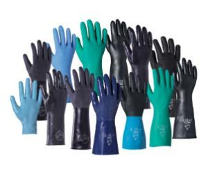 Chemical resistant gloves, family shot