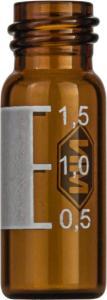 Screw neck vial, N 10, 11,6×32,0 mm, 1,5 ml, label, flat bottom, amber