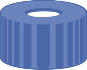 Screw closure, N 9, PP, blue, center hole, PTFE, white, 0,25 mm