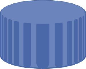 Screw closure, N 9, PP, blue, closed top, PTFE, white, 0,25 mm