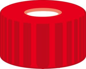 Screw closure, N 9, PP, red, center hole, Silicone white/PTFE red, 1,0 mm