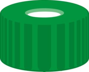 Screw closure, N 9, PP, green, center hole, Silicone white/PTFE red, 1,0 mm