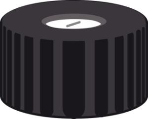 Screw closure, N 9, PP, black, center hole, Silicone white/PTFE blue, slit,1,0 mm