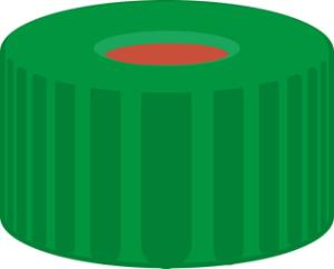 Screw closure, N 9, PP, green, center hole, Red Rubber/FEP colourless, 1,0 mm