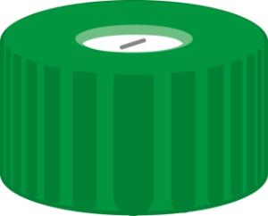 Screw closure, N 9, PP, green, center hole, Silicone white/PTFE blue, slit,1,0 mm