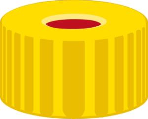 Screw closure, N 9, PP,yellow,center hole,PTFE red/Silicone white/PTFE red, 1,0 mm
