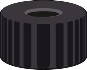 Screw closure, N 9, PP, black, center hole, no liner