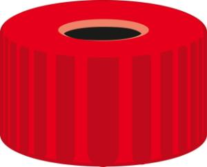 Screw closure, N 9, PP, red, center hole, no liner