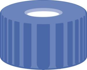 Screw closure, N 9,PP,blue,centre hole,Silicone white/Polyimide orange,1,0 mm,fluorine-free