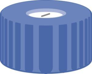 Screw closure, N 9, PP, blue, center hole, Silicone white/PTFE blue, slit, 1,0 mm
