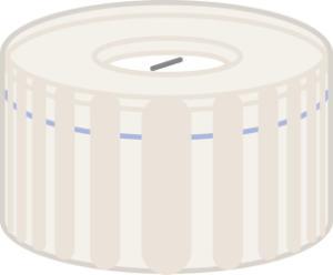 Screw closure, N 9, PP, transp., center hole,Silicone white/PTFE blue,slit,1,0 mm