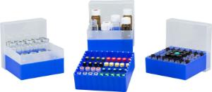 Vial container, maximum diameter 15 mm, 49 position with lid and divider, stackable