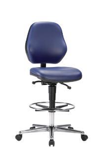 Laboratory chair, castors, blue skai