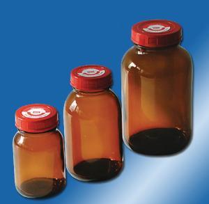 Bottles, wide neck, with screw caps, behroplast®