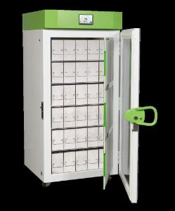 Upright SU780XLE -80 °C ultra-low temperature freezer shown with optional racks